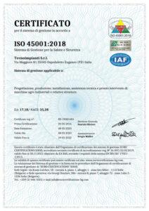 Certificato ISO 45001 2018